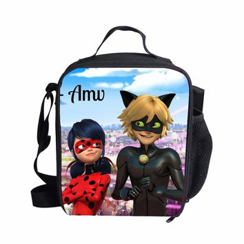 FORUDESIGNS Lancheira Thermo Lunch Bags Miraculous Ladybug Cooler Insulated Lunch Bags Women Kids Thermal Food Bolsa termica