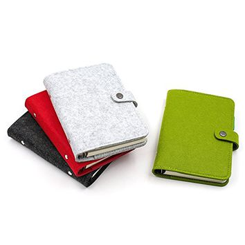 Zhi Jin A6 Wool Felt Refillable Notebook Binder Journal Hard Cover Notepad Diary Memo Pen Holder Green Ruled Paper