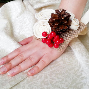 Cream rustic wedding Rustic WRIST CORSAGE bridesmaids boutonniere, Sola Flower, pine cone, red berries, Wedding Flowers custom