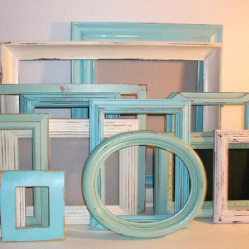 13 SShades of the Beach Distressed Picture Frames Robin's Egg Blue,Sea Foam Green & Antique White