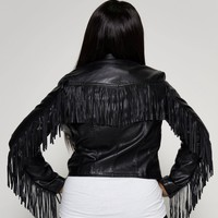 Taty Vegan Leather Fringe Jacket