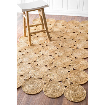 Kora Eco Natural Fiber Braided Reversible Circles Jute Rug