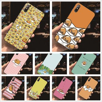 Fatperson Black Frame cover Gudetama The Lazy Egg Funny design Phone cases For Apple iphone 7Plus 8Plus X 7 8 Plus 5 5S 6 6S