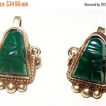 Taxco Sterling Silver Earrings Signed Screw Backs Green Onyx Face Mask Mexican Jewelry Vintage 1960s
