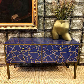 Upcycled vintage retro solid wood geometric blue and gold sideboard chest