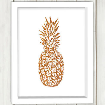 Gold foil pineapple printable art,DIGITAL FILE, wall art, home decor,art print,instant download
