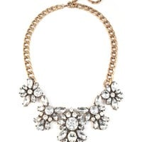 Crystal Bloom Gemstone Cluster Bridal Statement Bib Necklace