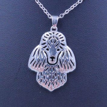 2018 Poodle Dog Animal Pendant Necklace Gold Silver Plated Jewelry For Women Male Female Girls Ladies Punk Cute N013