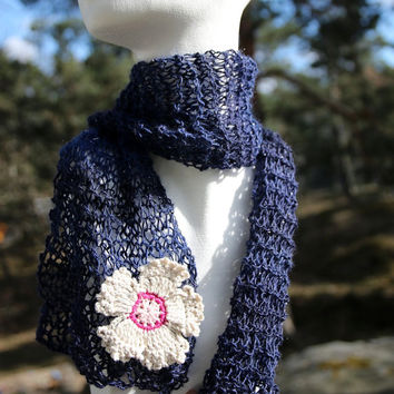 Handknit light scarf in midnight blue wit beautiful flower applique, soft shawl, finely handmade and unique, autumn fashion gift for for her