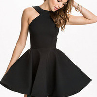 Fall Fashion Black Halter Backless Flare Dress