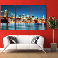Cityscape Art Canvas Print, Grey Large Canvas, New York City Wall Art, New York Print Decor, New York Skyline Poster, Brooklyn Bridge LC002