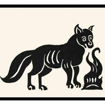 Russian Folk Art Animal Fox by Issachar Ber Ryback's Counted Cross Stitch or Counted Needlepoint Pattern