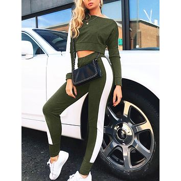 Spring and summer fashion women's casual sexy stitching sports suit two-piece