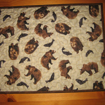 Quilted Placemats Brown Bears and Fish Pinecone Rustic Mountain Lodge Cabin