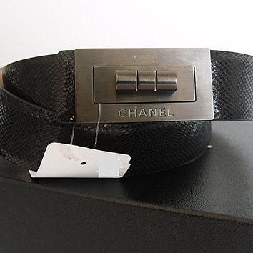 "$1500 CHANEL Black Skin 2.55 Mademoiselle Lock CC Studded Belt 90cm 36"" NWT"