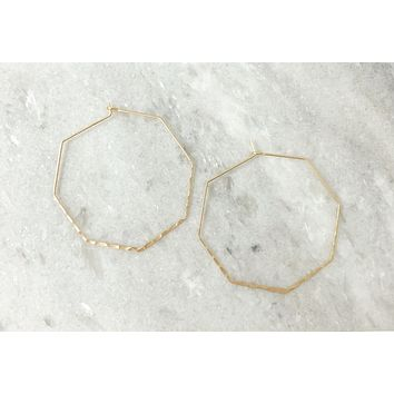 Gold Hammered Octagon Hoops