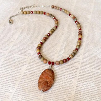 Red Jasper Pendant Beaded Necklace Red Creek Jasper Pendant Necklace Gemstone Bead Necklace Pendant Statement Necklace Valentines Day Gift