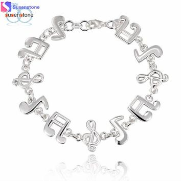 SUSENSTONE New Women Silver Cute Music Note Solid Women Lady Bracelet Bangle Jewelry