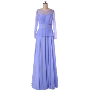 New Beauty Chiffon A Line Scoop Neck Long Sleeves Prom Dresses Floor Length Prom Dresses Button
