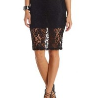 Bodycon Lace Midi Skirt by Charlotte Russe