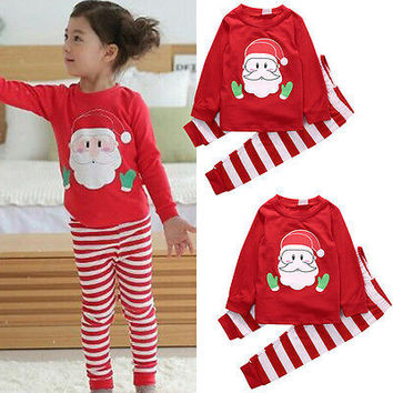 Family Kids Toddler Baby Girl Boy Clothes Set Christmas Nightwear Sleepwear Tops Pajamas Set Girls 1-6T