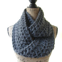 Ready To Ship Alpaca Blend Charcoal Gray Graphite Chunky Scarf Fall Winter Women's Accessory Infinity