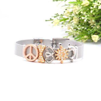 STYLEDOME Stainless Steel Mesh Bracelet Sets with Keeper Slide Charms