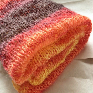 Knit Ladies Scarf - Women Clothes - Knit Mohair Ladies Scarf - Handmade Scarf - Orange Yellow Plum Knit Scarf - Soft Knit Scarf - Warm Scarf