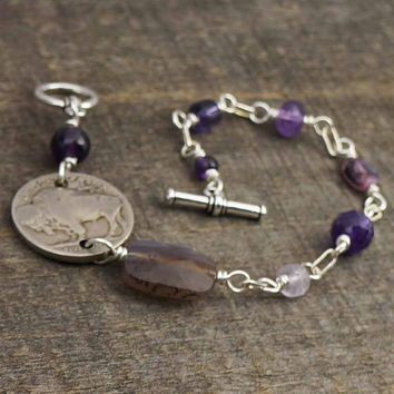 Wirewrapped coin bracelet, amethyst beads, silver, buffalo nickel jewelry 8 inches 20cm