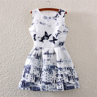 Butterfly & House Print Crew Neck Sleeveless Skater Dress