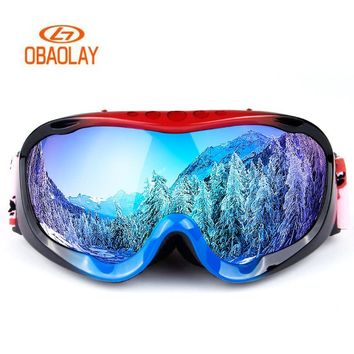 OBAOLAY Ski Goggles Full-frame Double-layer Lens Anti-fog Skiing Goggles Winter Outdoor Snowboard Glass