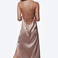 Satin Cross-Back Slip Dress