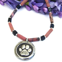 Dog Paw Print and St Francis Necklace, Pink Rhodonite Black Onyx Dog Rescue Jewelry for Women