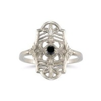 Vintage Fleur-de-Lis Black Diamond Ring in .925 Sterling Silver