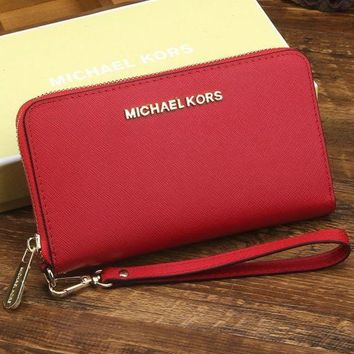 MK Trending Ladies Shopping Leather Zipper Wallet Purse Wrist Bag(8-Color) Red I-MYJSY-BB