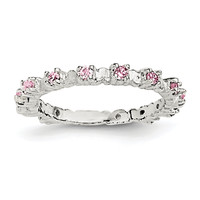 Sterling Silver Pink and White CZ Kid's Ring