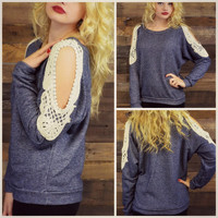 Rhode Island Indigo Crochet Cutout Shoulder Top