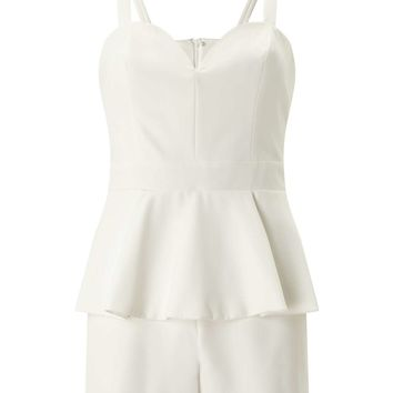 PETITE Ivory Peplum Playsuit | Missselfridge