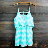 chevron romper | mint