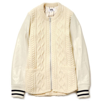 eYe Wool Aran Pattern x Cowhide Collarless Varsity Jacket