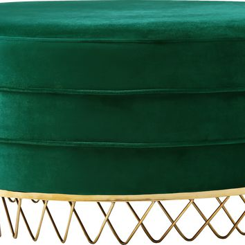 Revolve Green Velvet Ottoman/Coffee Table