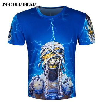 Heavy metal band 3D T-Shirt Men Funny T Shirts Psychedelic Print Tops Hip Hop Camisa Luxury Short Sleeve Fashion Tee