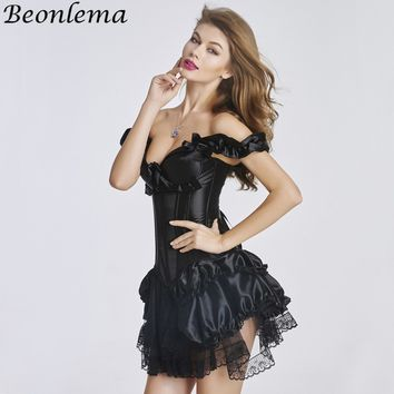Beonlema Transparent Lace Corset Steampunk Tutu Gothic Black Korse Dress Women Sexy Corsets and Bustiers For Women Clubwear