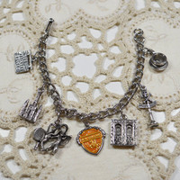 Vintage New Orleans Charm Bracelet Silvertoned Teacup Pirates Alley Old Absinthe House Architecture Charms New Orleans Bracelet