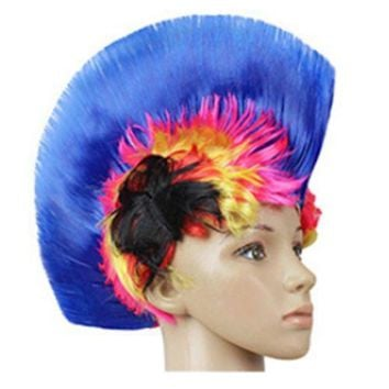 Shiny Cockscomb Hair Punk Hair Cap Bright Wig shiny rainbow sapphire blue2