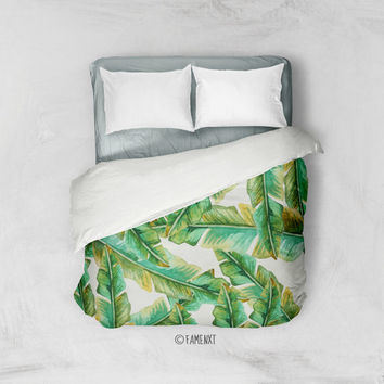 Duvet Cover, tropical bedding, green bedding, banana leaves duvet cover, Bedding, Home Interior Decoration