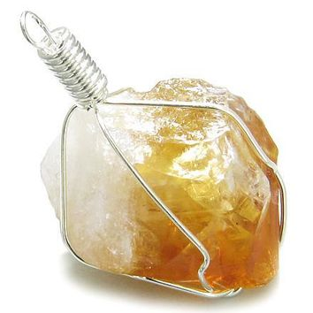 Rough Citrine Healing Lucky Crystal Point Gemstone Caged in Silver Electroplated Wire Pendant