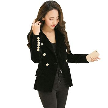 Fmasuth Autumn Velet Blazer Feminino Jacket Women Full Sleeve Female Gold Button Chaqueta Mujer Ladies Blazers Outwear ow0247