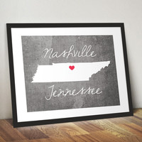 Nashville Tennessee Concrete Style State Print