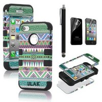 Pandamimi ULAK Hybrid High Impact Case Tribal Pink / Green Silicone for iPhone 4 4S +Screen Protector +Stylus